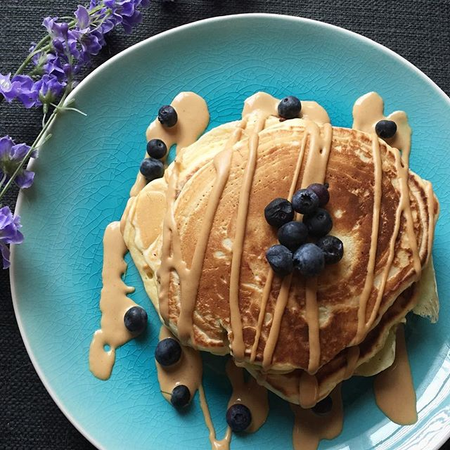 Chocolate Blueberry Pancakes with Salted Caramel Peanut Butter Syrup