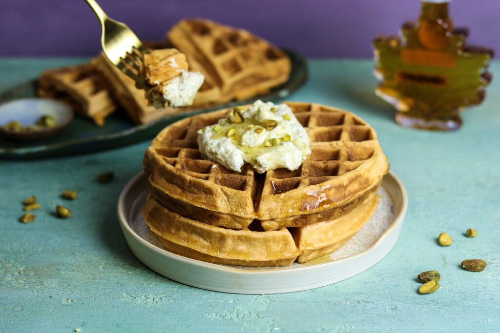 Jalebi Waffles with Pistachio Whipped Cream & Saffron Maple Syrup