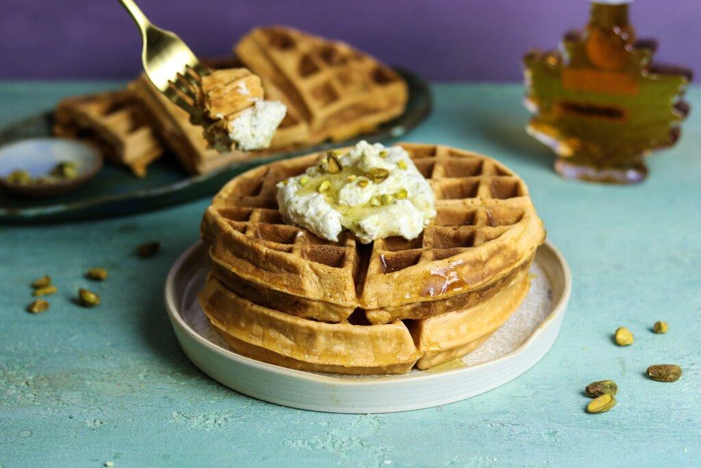 Jalebi Waffles with Pistachio Whipped Cream & Saffron Maple Syrup