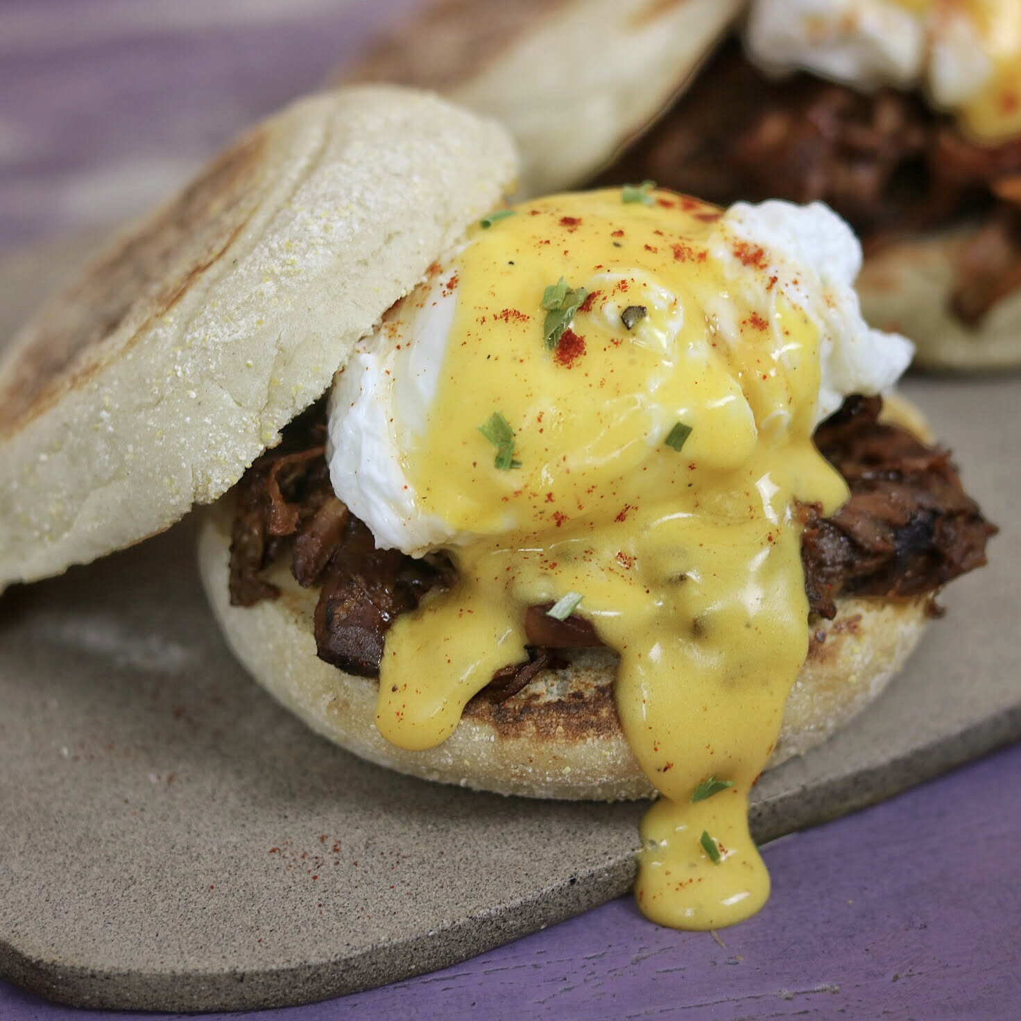 A citrus pulled pork eggs benedict