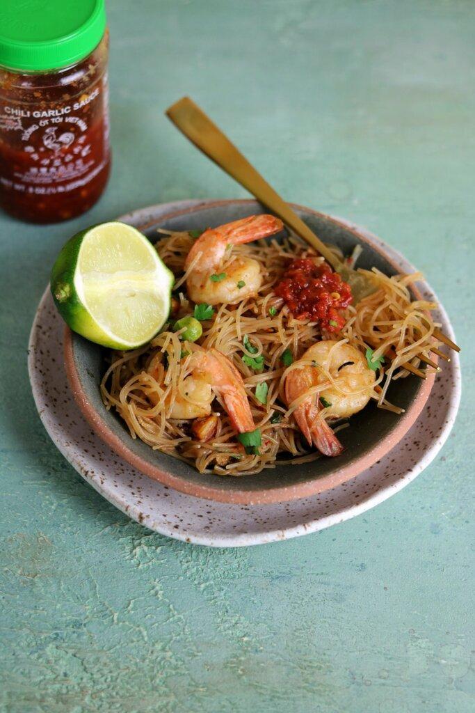 shrimp rice noodles pancit