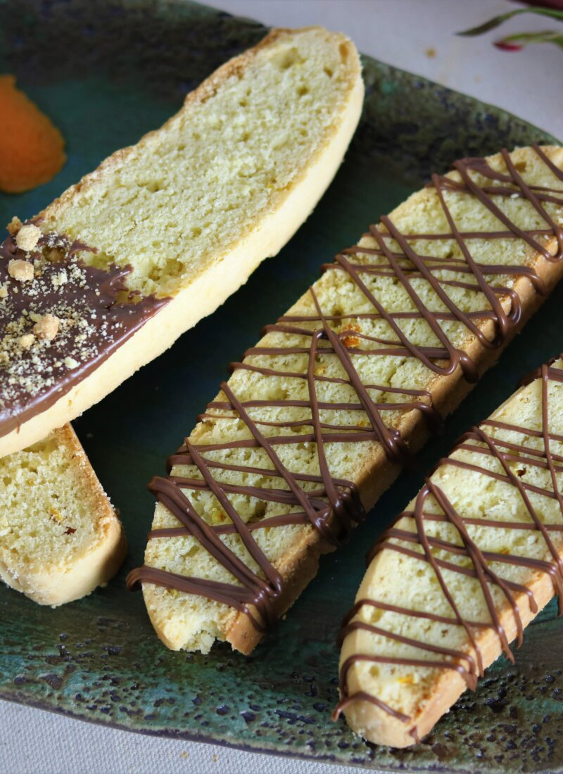 Orange Rose Biscotti with Citrus Nutella Drizzle