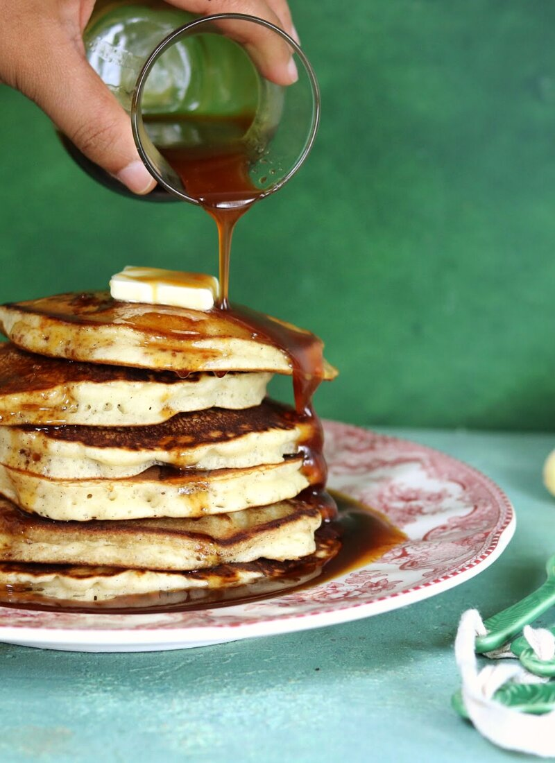 Cardamom Pancakes with Chai Syrup