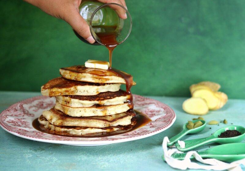 Cardamom Pancakes with Chai Syrup