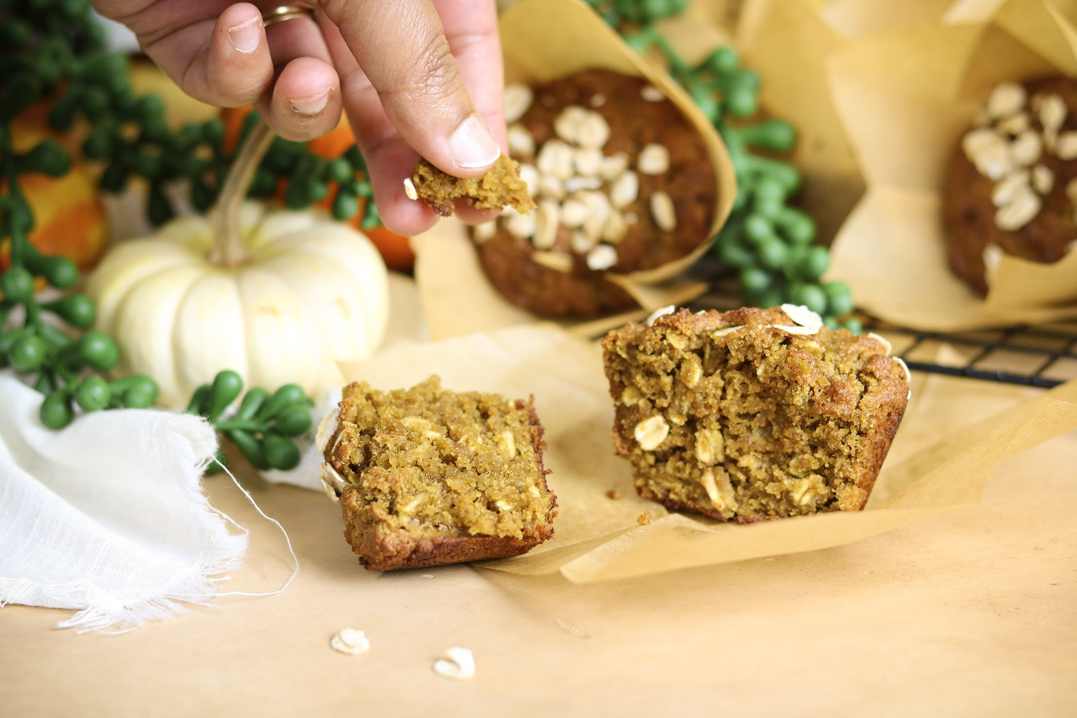 Pumpkin Brown Sugar Oat Muffins