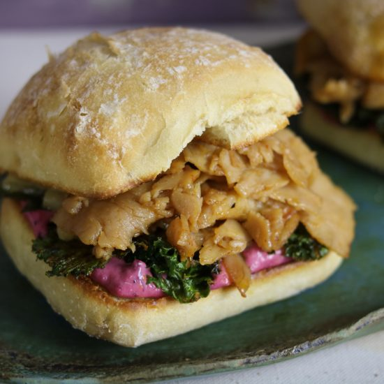 Thanksgiving Turkey Sandwich with Cranberry Aioli & Kale Chips