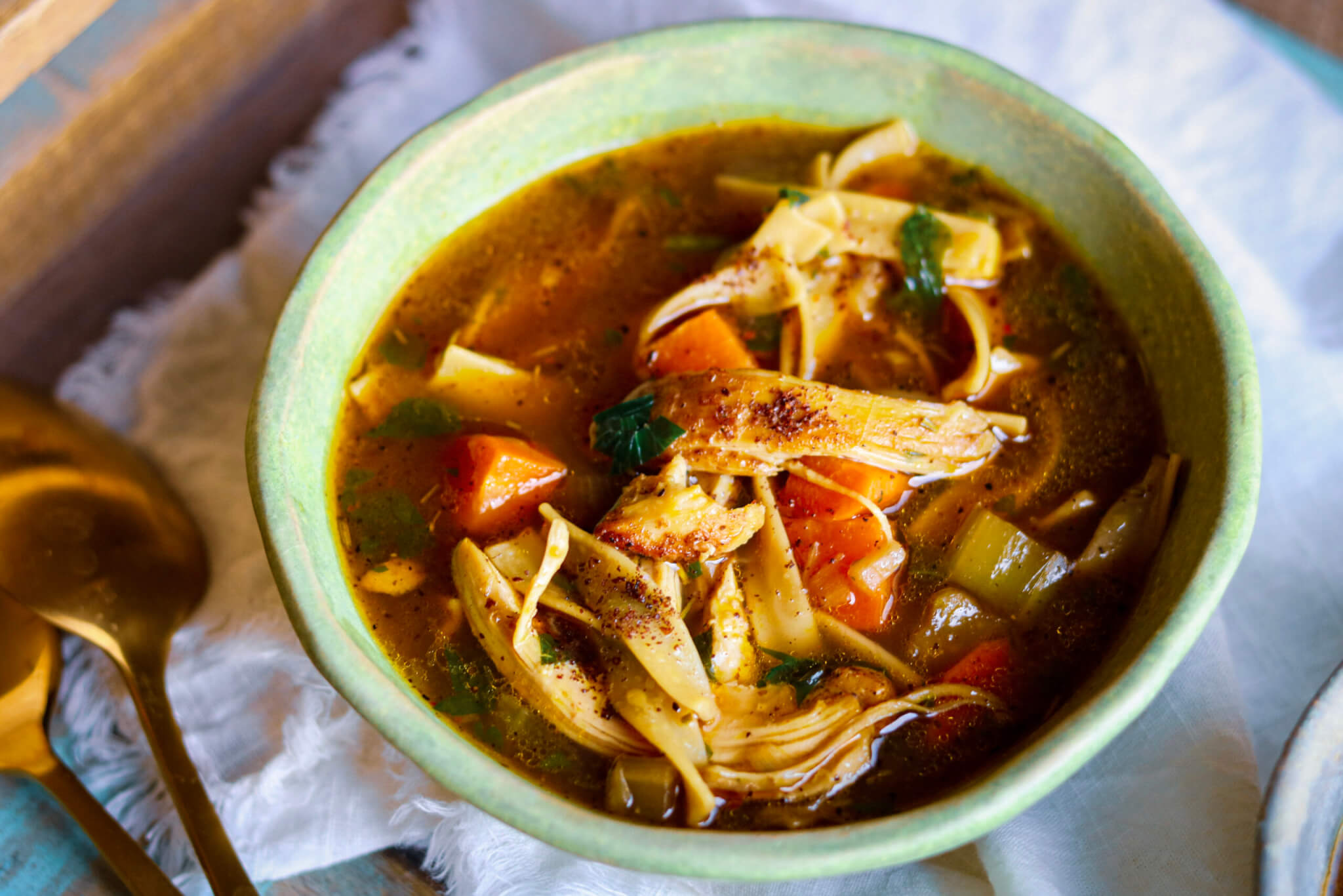 Sumac Roasted Chicken Noodle Soup